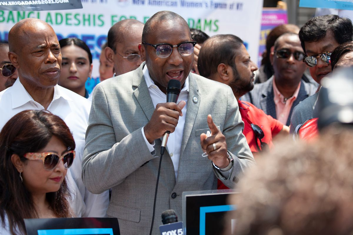 Queens Borough President Donovan Richards campaigns for Eric Adams in Jackson Heights, May 7, 2021.