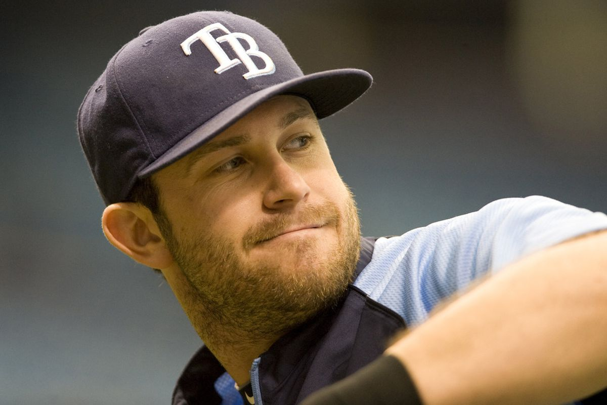 June 3, 2012; Tampa, FL, USA; Tampa Bay Rays third baseman Evan Longoria (3) warms up before a game against the Baltimore Orioles at Tropicana Field.  Mandatory Credit: Jeff Griffith-US PRESSWIRE
