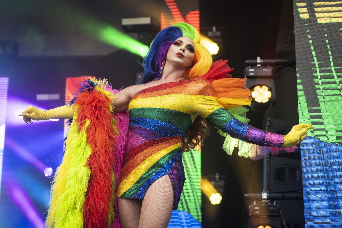 Alyssa Edwards performs Saturday afternoon at Pride in the Park in Grant Park.