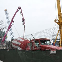 Cement truck and other equipment on Waveland