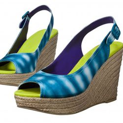 Linen Espadrille Wedges in Turquoise Print $29.99