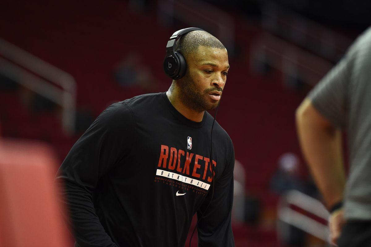 P.J. Tucker of the Houston Rockets warms up prior to the game against the Chicago Bulls on February 22, 2021 at the Toyota Center in Houston, Texas.