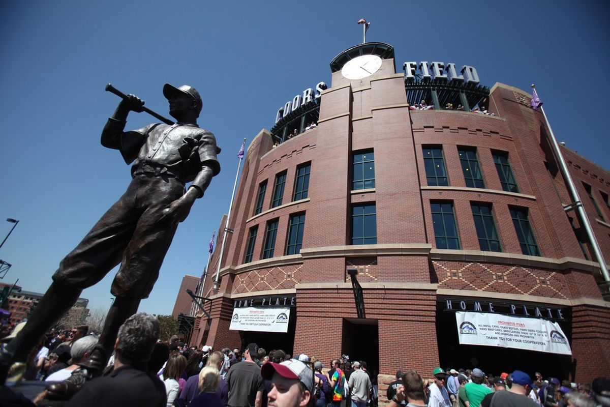 April 9, 2012; Denver, CO, USA; A general view outside Coors field before the opening day game between the San Francisco Giants and the Colorado Rockies.  The Giants won 7-0.   Mandatory Credit: Chris Humphreys-US PRESSWIRE