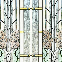 Art glass window detail with rose motif at Ogden Utah Temple.