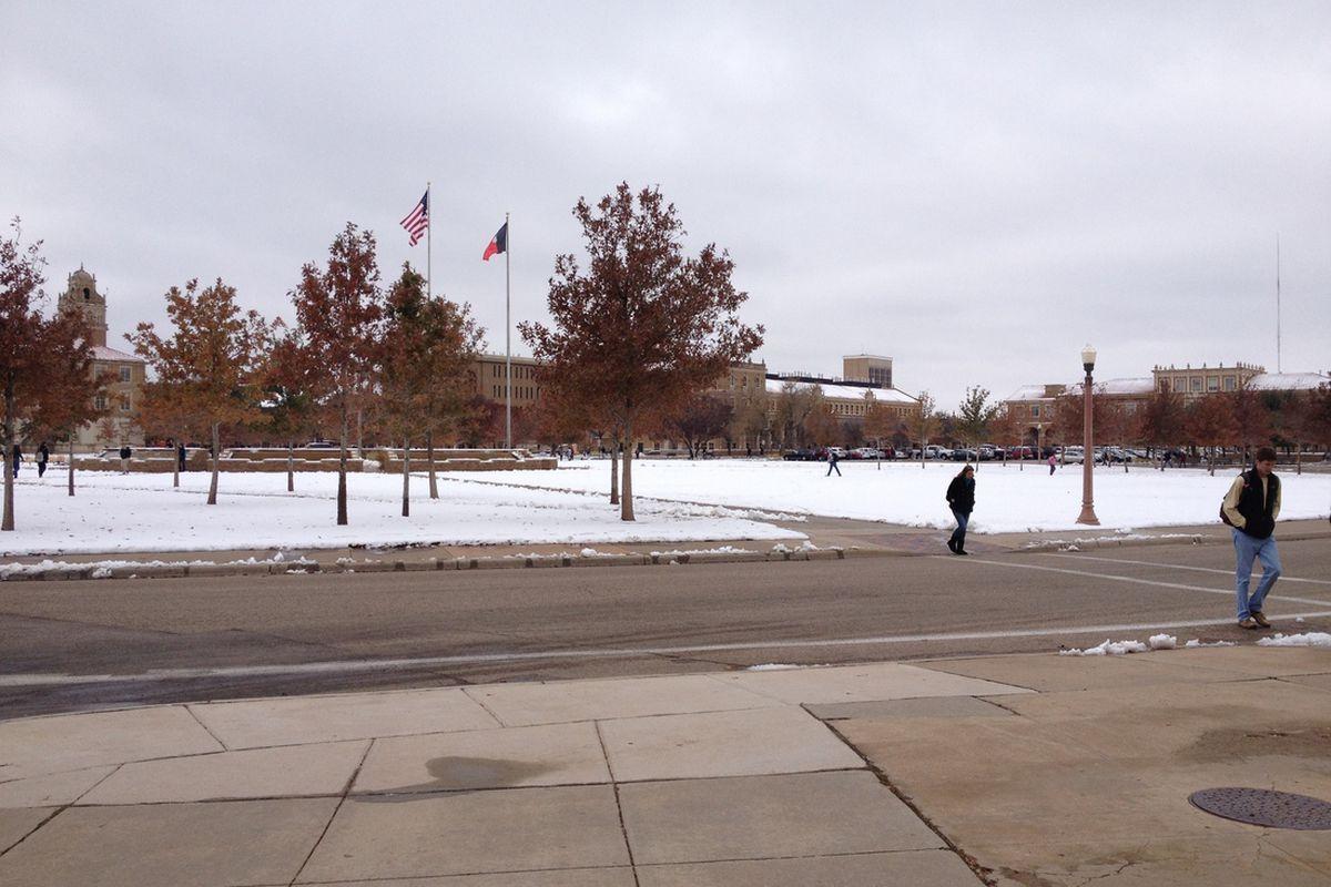 Memorial Circle on a snow day