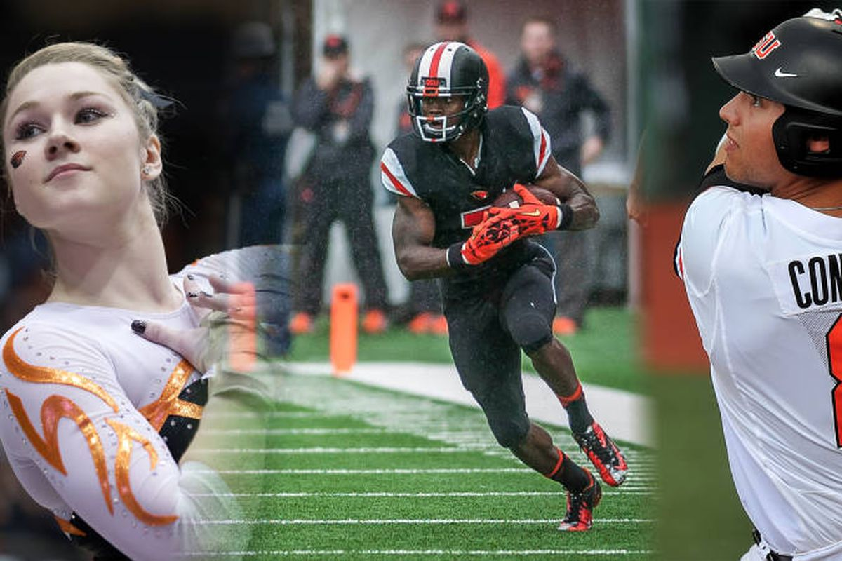 The Oregon St. Athletes of the Year for 2013-14, Madeline Gardner, Brandin Cooks, and Michael Conforto.