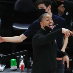 LA Clippers Tyronn Lue yells during the NBA playoffs in Salt Lake City on Thursday, June 10, 2021. The Jazz won 117-111.