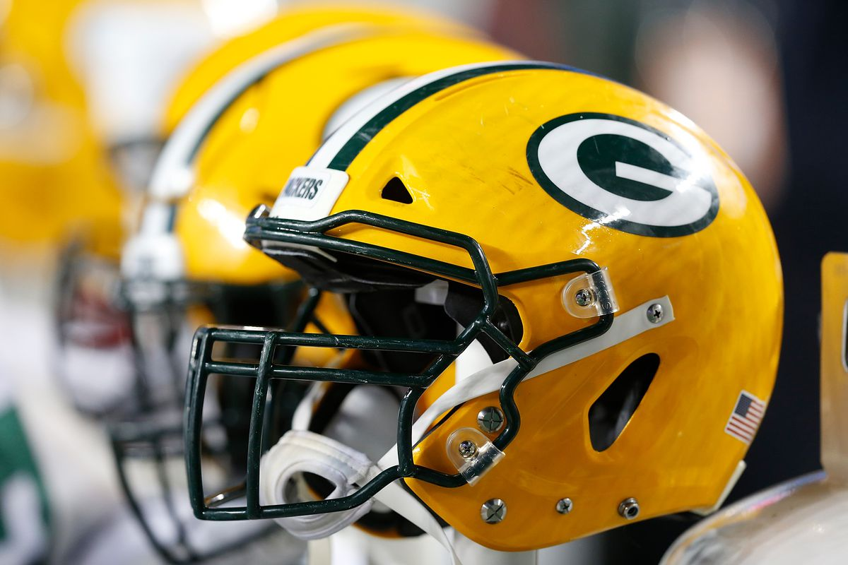 A detail shot of the helmets on the Green Bay Packers bench during the game against the San Francisco 49ers at Levi's Stadium on November 24, 2019 in Santa Clara, California.