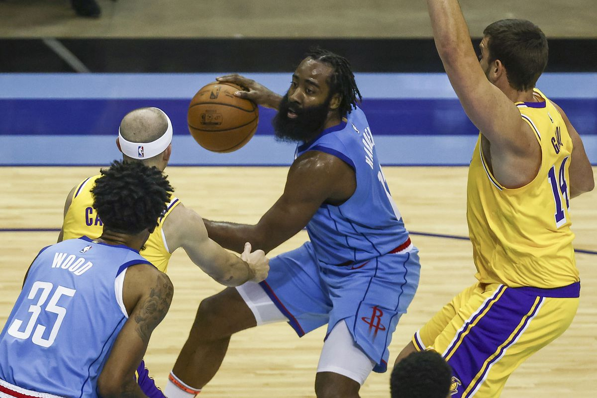 Houston Rockets guard James Harden (middle) dribbles the ball against the Los Angeles Lakers during the third quarter at Toyota Center.