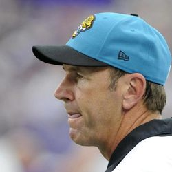 Jacksonville Jaguars head coach Mike Mularkey looks on during the first half of an NFL football game against the Minnesota Vikings, Sunday, Sept. 9, 2012, in Minneapolis.