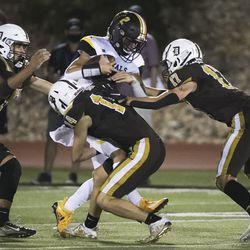 Roy and Davis play football in Kaysville on Friday, Sept. 18, 2020.