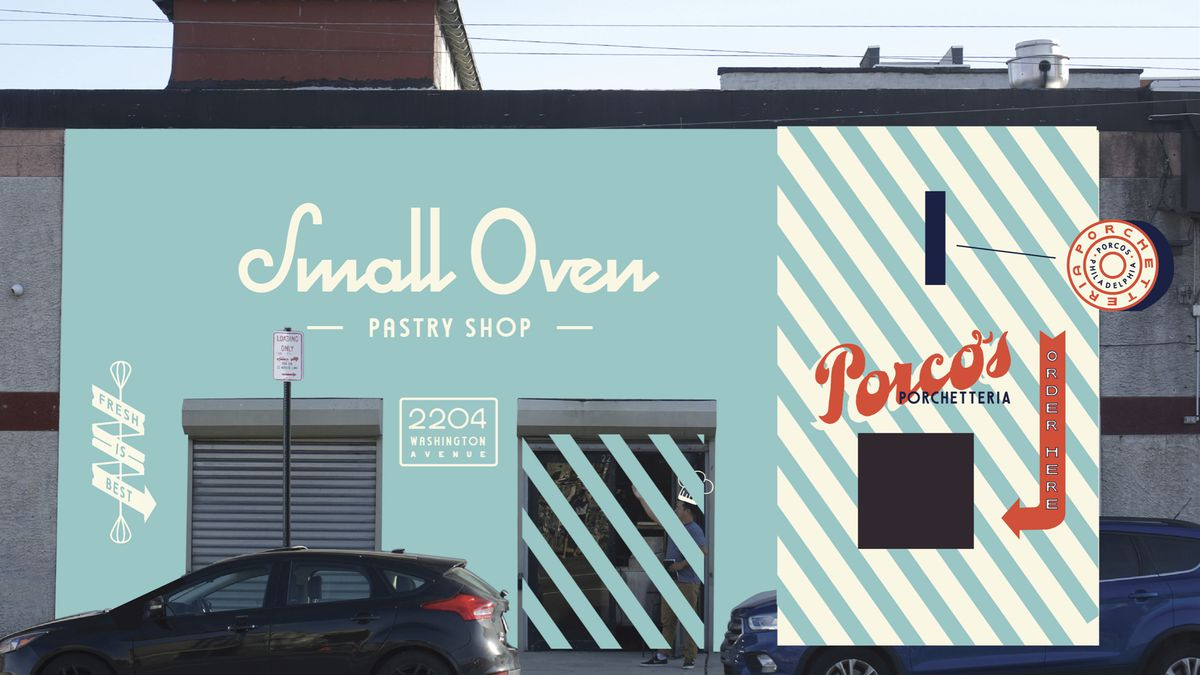 blue storefront with signs that says small oven and porco's