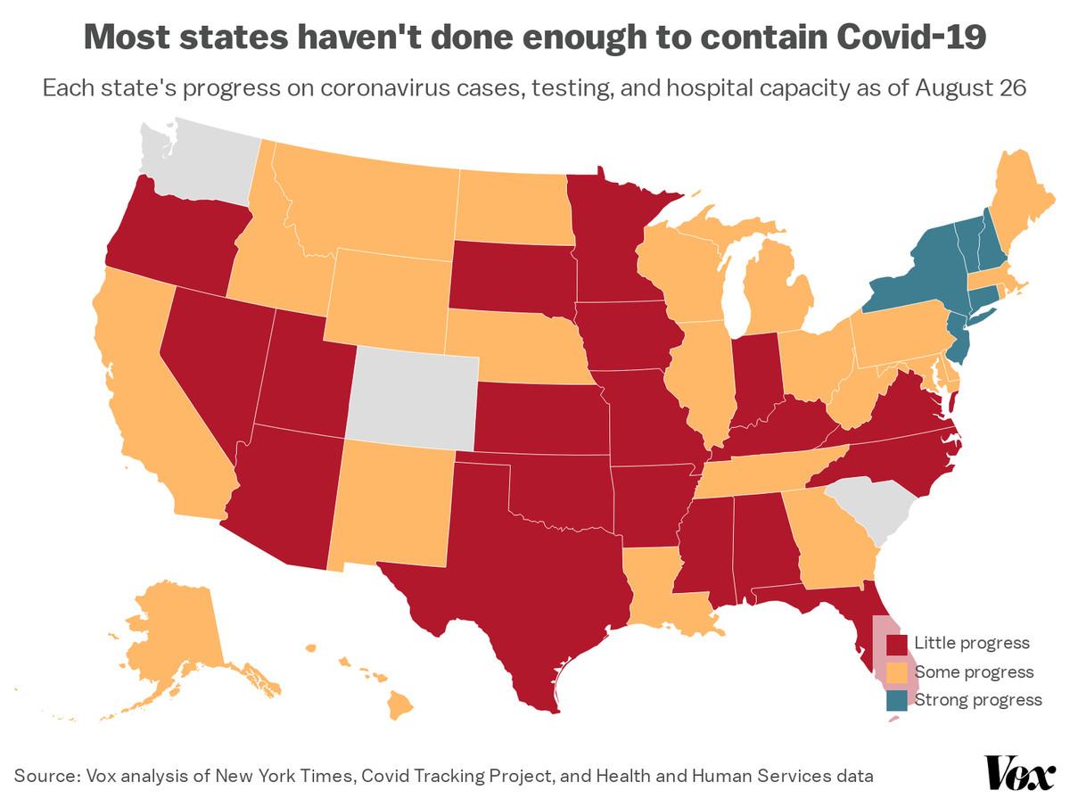 A map of states' progress on a range of Covid-19 metrics.