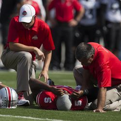 Trainers tend to Braxton Miller.