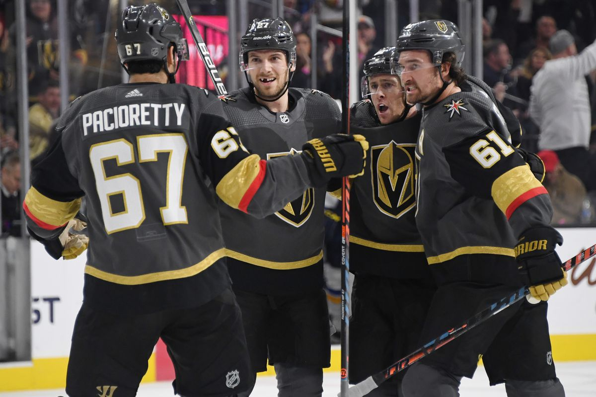Max Pacioretty, Shea Theodore, Jonathan Marchessault #81 and Mark Stone of the Vegas Golden Knights celebrate after Marchessault scored a second-period power-play goal against the St. Louis Blues during their game at T-Mobile Arena on February 13, 2020 in Las Vegas, Nevada.