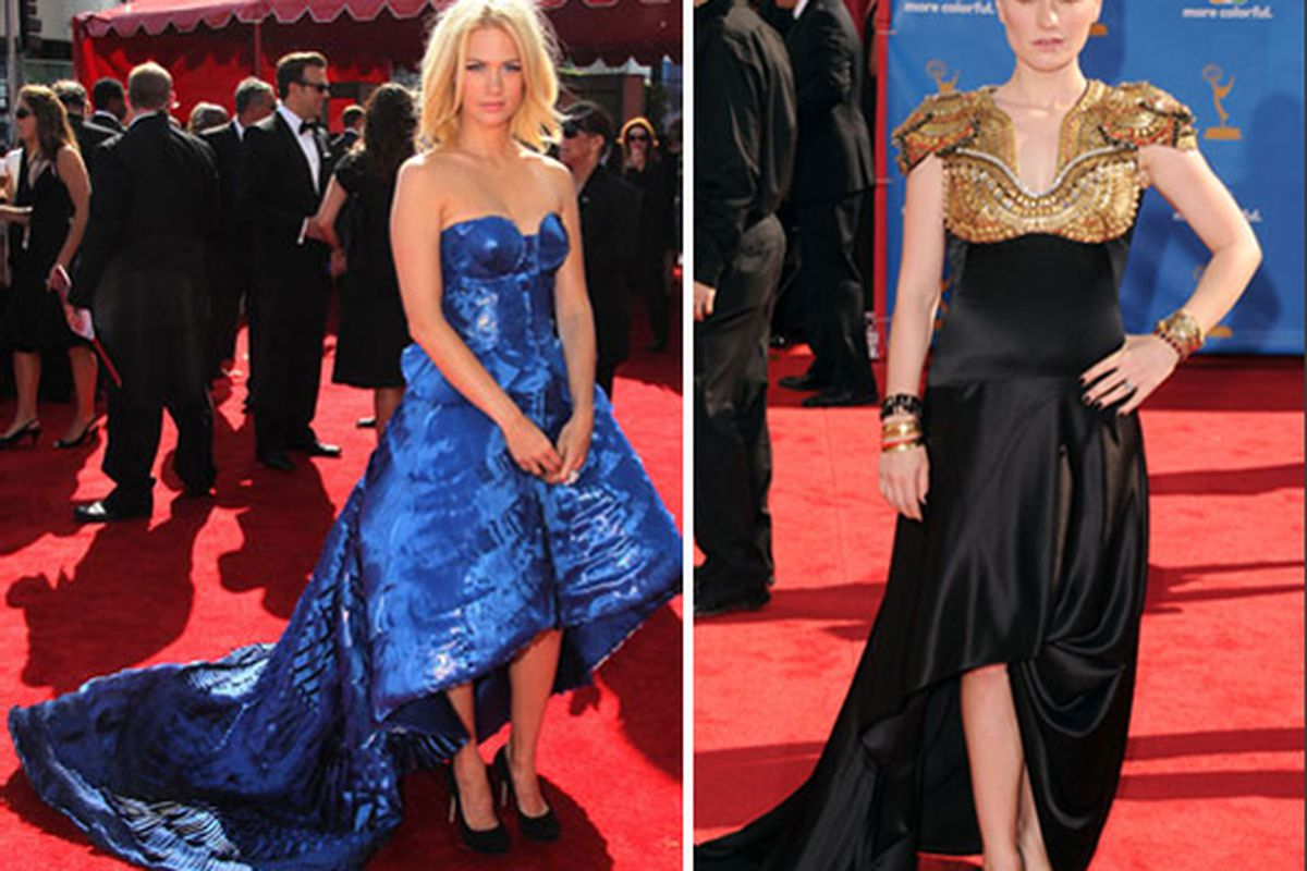 """January Jones in Armani and Anna Paquin in Alexander McQueen at the Emmys via <a href=""""http://www.fabsugar.com/tag/2010+Primetime+Emmy+Awards"""">FabSugar</a>"""