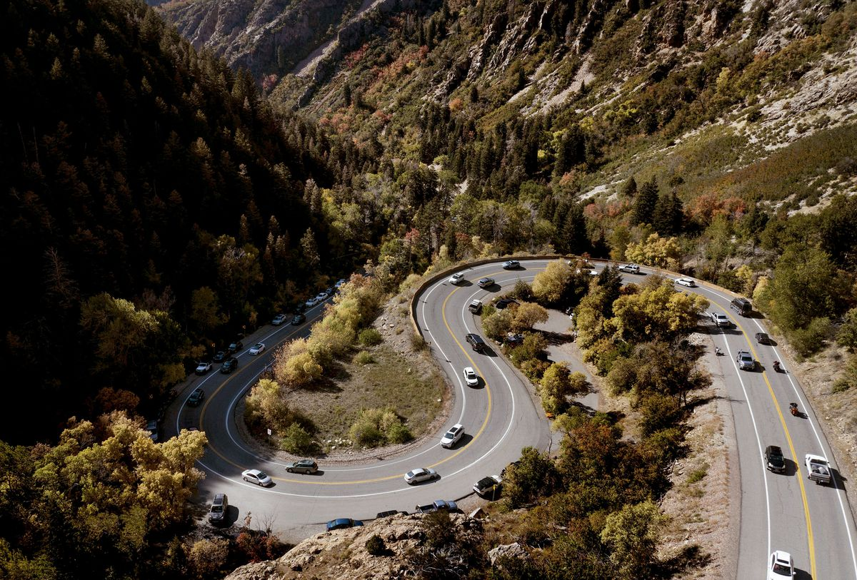 Vehicles move up and down Big Cottonwood Canyon in Salt Lake City on Friday, Oct. 1, 2021.