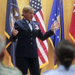 Utah Air National Guard Brig. Gen. Christine Burckle speaks during her retirement ceremony at the Roland R. Wright Air National Guard Base in Salt Lake City on Thursday, Aug. 29, 2019.