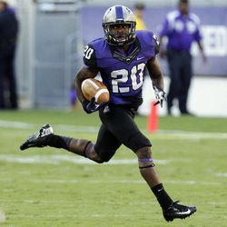 TCU running back Aaron Green (20) runs back a punt return for a touchdown during the first half of an NCAA college football game against Grambling State in Fort Worth, Texas, Saturday, Sept. 8, 2012.