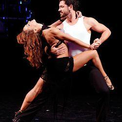 "Karina Smirnoff and Maksim Chmerkovskiy dance in a preview of the Broadway ballroom dance show ""Burn The Floor."""