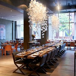 The communal tables can also be used for private dining for large parties