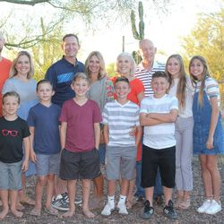 Sherry and Grit Young, with their sons Jim and Tom and their families, celebrate Thanksgiving in Mesa, Arizona.