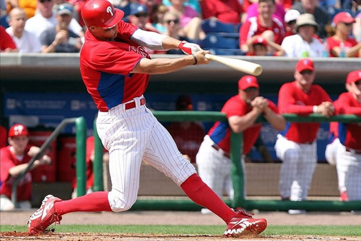 March 3, 2012; Clearwater, FL, USA; Philadelphia Phillies right fielder Hunter Pence (3) hits a 2-run home run in the first inning against the New York Yankees at Bright House Networks Field.  Mandatory Credit: Kim Klement-US PRESSWIRE
