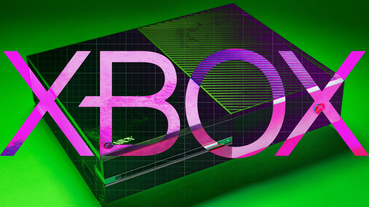 """Graphic illustration of Xbox console on green background with """"XBOX"""" in bright pink letters in the foreground"""