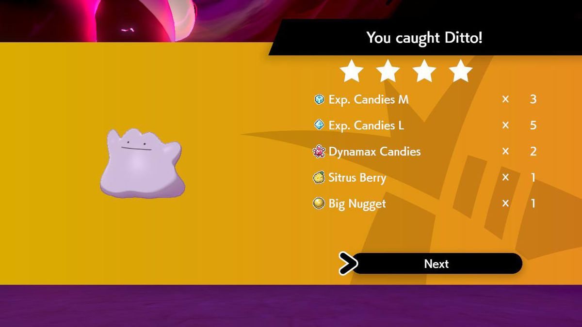 After a successful Ditto Max Raid, the reward screen shows what the player gets