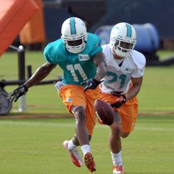 Jul 26, 2013; Davie, FL, USA; Miami Dolphins wide receiver Mike Wallace (11) is unable to make a catch as cornerback Brent Grimes (21) defends during training camp at the Doctors Hospital Training Facility at Nova Southeastern University.