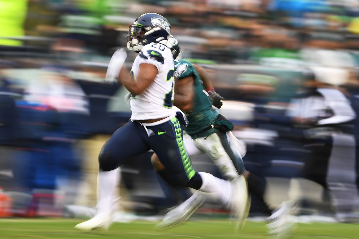 Seattle Seahawks running back Rashaad Penny carries the ball for a 58-yard touchdown run in the fourth quarter against the Philadelphia Eagles at Lincoln Financial Field.