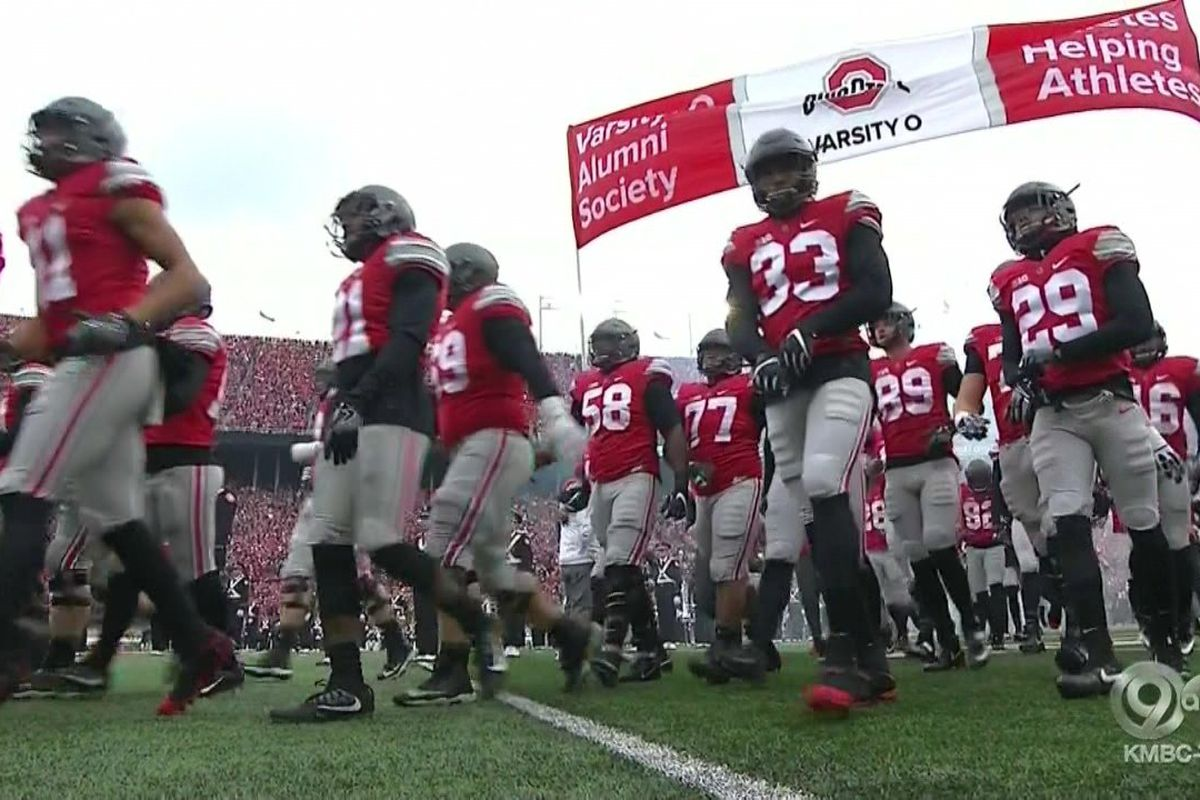 072ce3afb9e09 Ohio State is wearing black matte helmets and LeBron cleats against ...