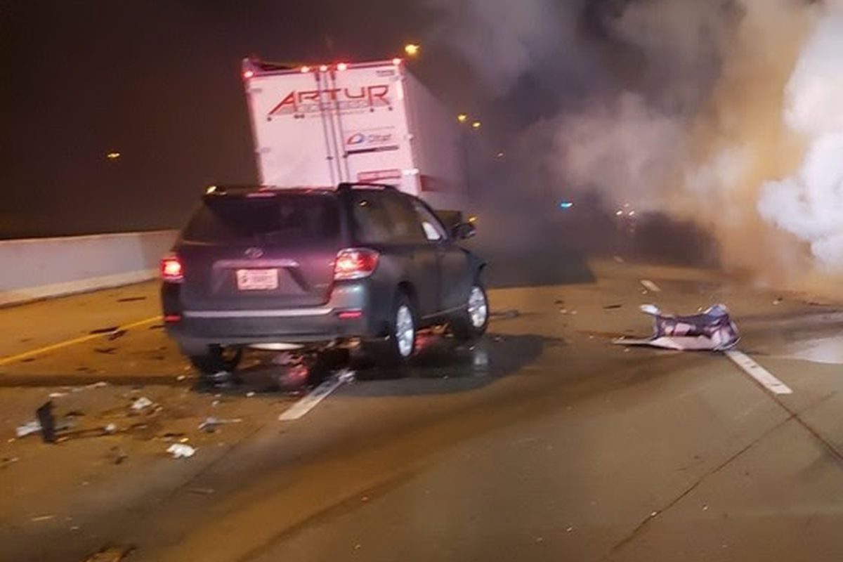 A 2013 Toyota Highlander crashed into a semi and a passenger vehicle, causing a fire and killing a person Feb. 2, 2020 in Hammond.