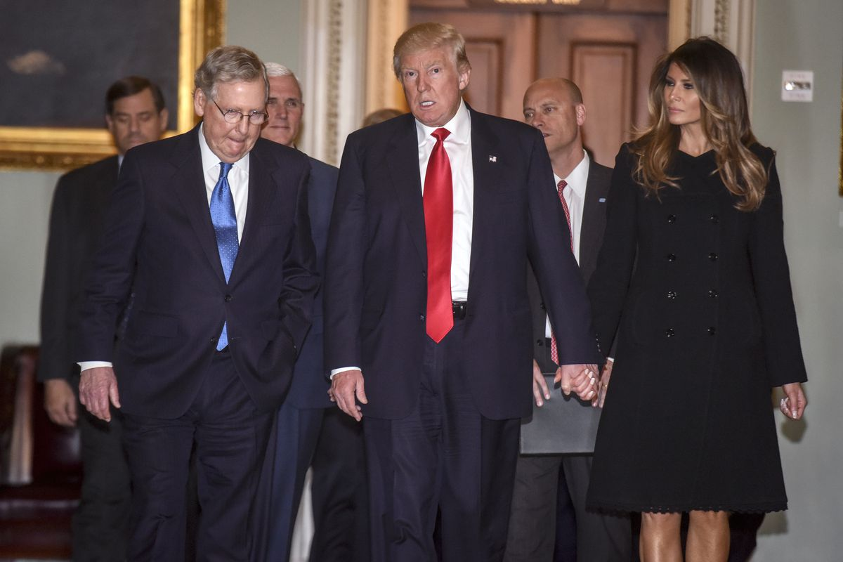 President Elect Donald Trump comes to the U.S. Capitol to meet with Senate Majority Leader Mitch McConnell(R-KY) in Washington, DC.