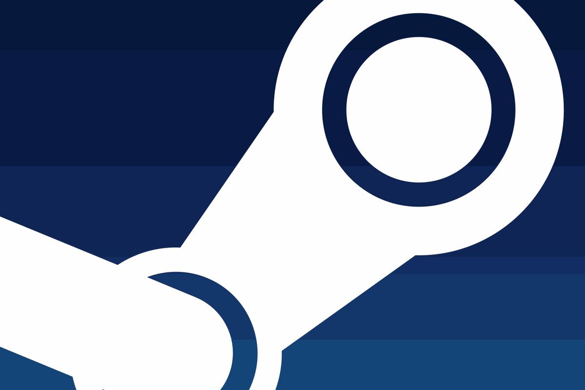 close-up of white Steam logo on dark blue background