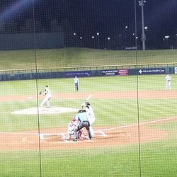 Jaycob Brugman bats in the first inning