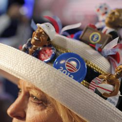 Mississippi delegate Joy Williams from Jackson fashions her hat at the Democratic National Convention in Charlotte, N.C., on Tuesday, Sept. 4, 2012.