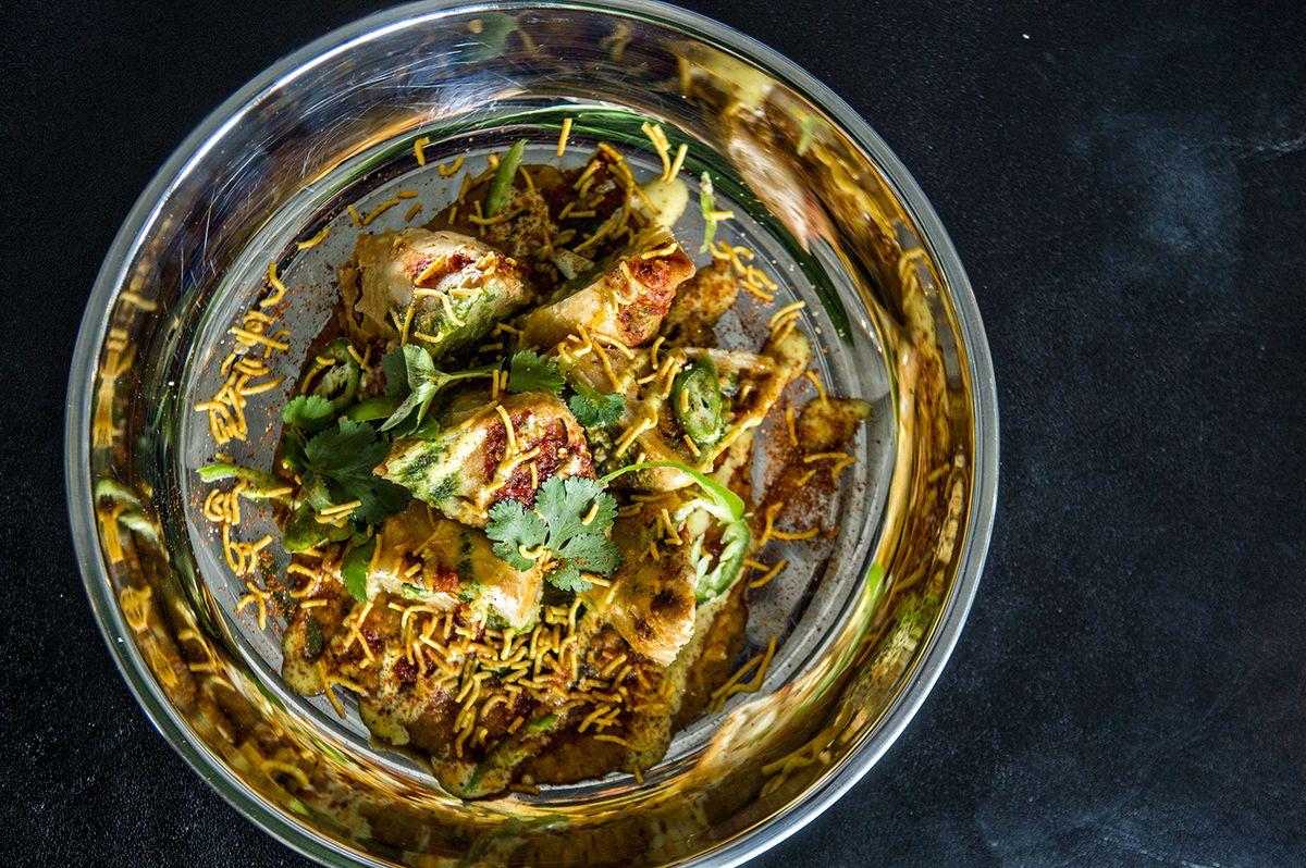 Vegan style samosas from Biju's Little Curry Shop.