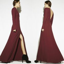 """Reformation <a href=""""http://thereformation.com/MUSE-DRESS-BURGUNDY.html"""">Muse dress</a>, $248 at thereformation.com.<br /><br />  <b>Reformation</b>'s '90s-throwback styles are easy yet ultra-hot. Choose from floor-sweeping styles such as the one above"""