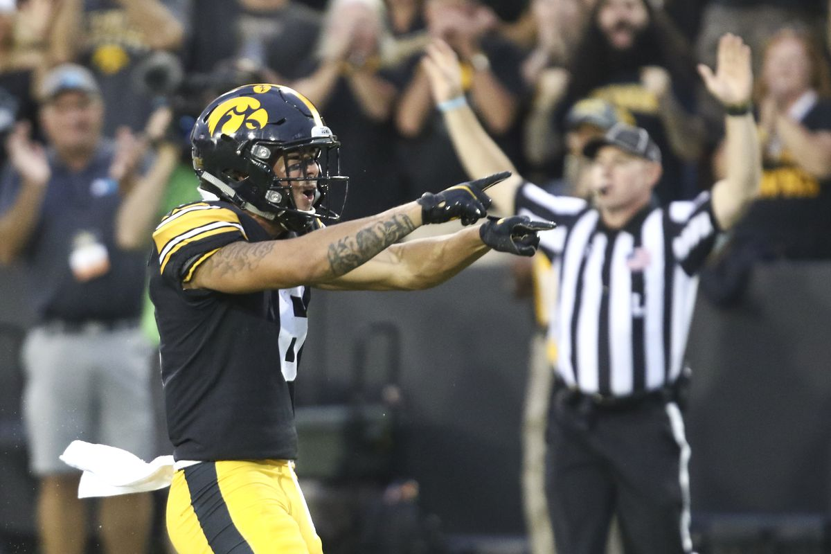 Wide receiver Keagan Johnson of the Iowa Hawkeyes celebrates after a reception during the second half against the Penn State Nittany Lions at Kinnick Stadium on October 9, 2021 in Iowa City, Iowa.