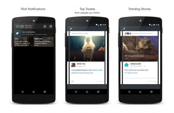Twitter highlights Android