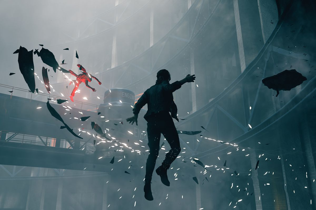 The protagonist of Control hovering mid-air in a screenshot from the gameplay trailer