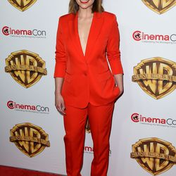 Emilia Clarke in Stella McCartney at the Warner Brothers CinemaCon Showcase presentation.
