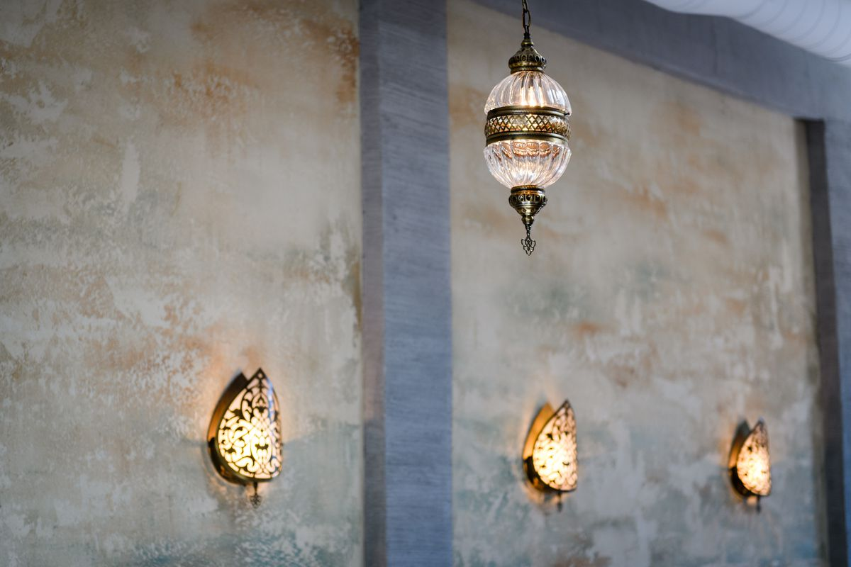 The light fixtures at Yalla pull inspiration from certain parts of Eastern Europe, Southwestern Asia, and Northern Africa