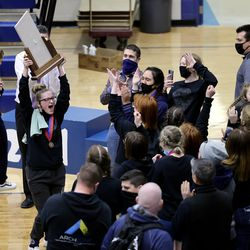 West Lake girls celebrate their first place finish in 6A State Wrestling championship at West Lake High in Saratoga Springs on Monday, Feb. 15, 2021.