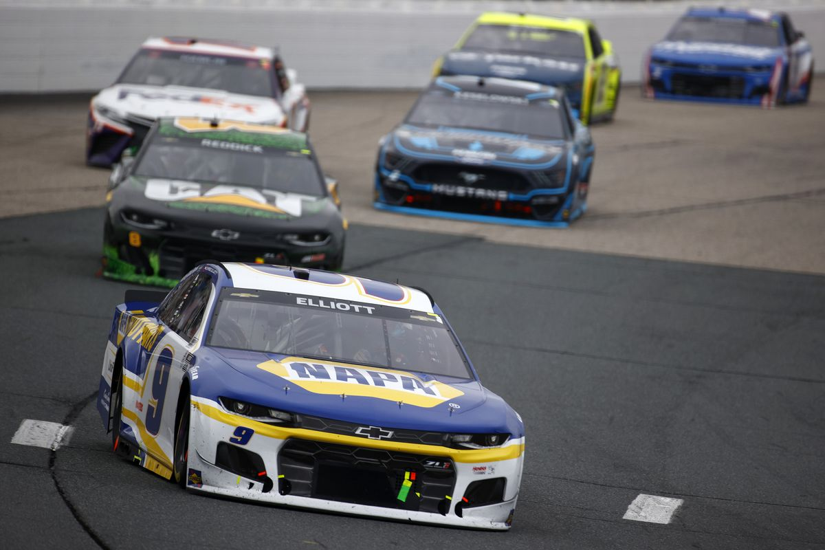 Chase Elliott, driver of the #9 NAPA Auto Parts Chevrolet, drives during the NASCAR Cup Series Foxwoods Resort Casino 301 at New Hampshire Motor Speedway on July 18, 2021 in Loudon, New Hampshire.