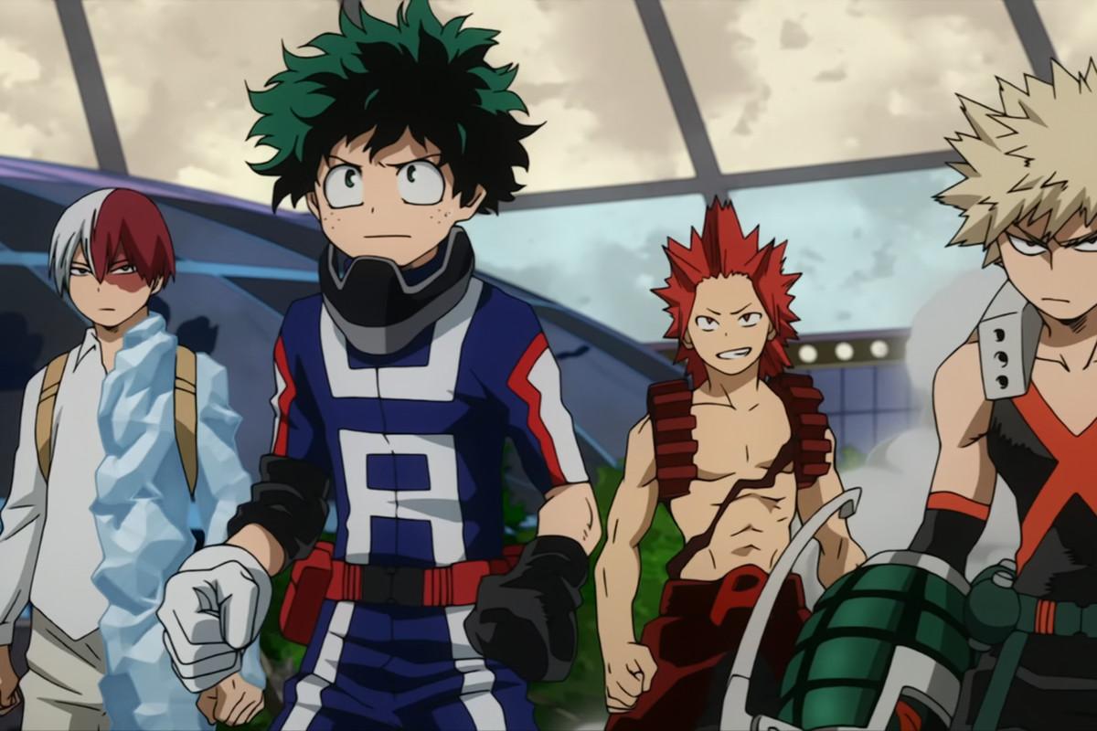 Left to right: Shoto Todoroki, Izuku Midoriya, Eijiro Kirishima and Katsuki Bakugo in the first season of My Hero Academia.