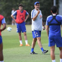 Musonda and Pedro strike pose as Sarri tells them only one can survive the upcoming zombie apocalypse, which Lucas Piazon is about to demonstrate.