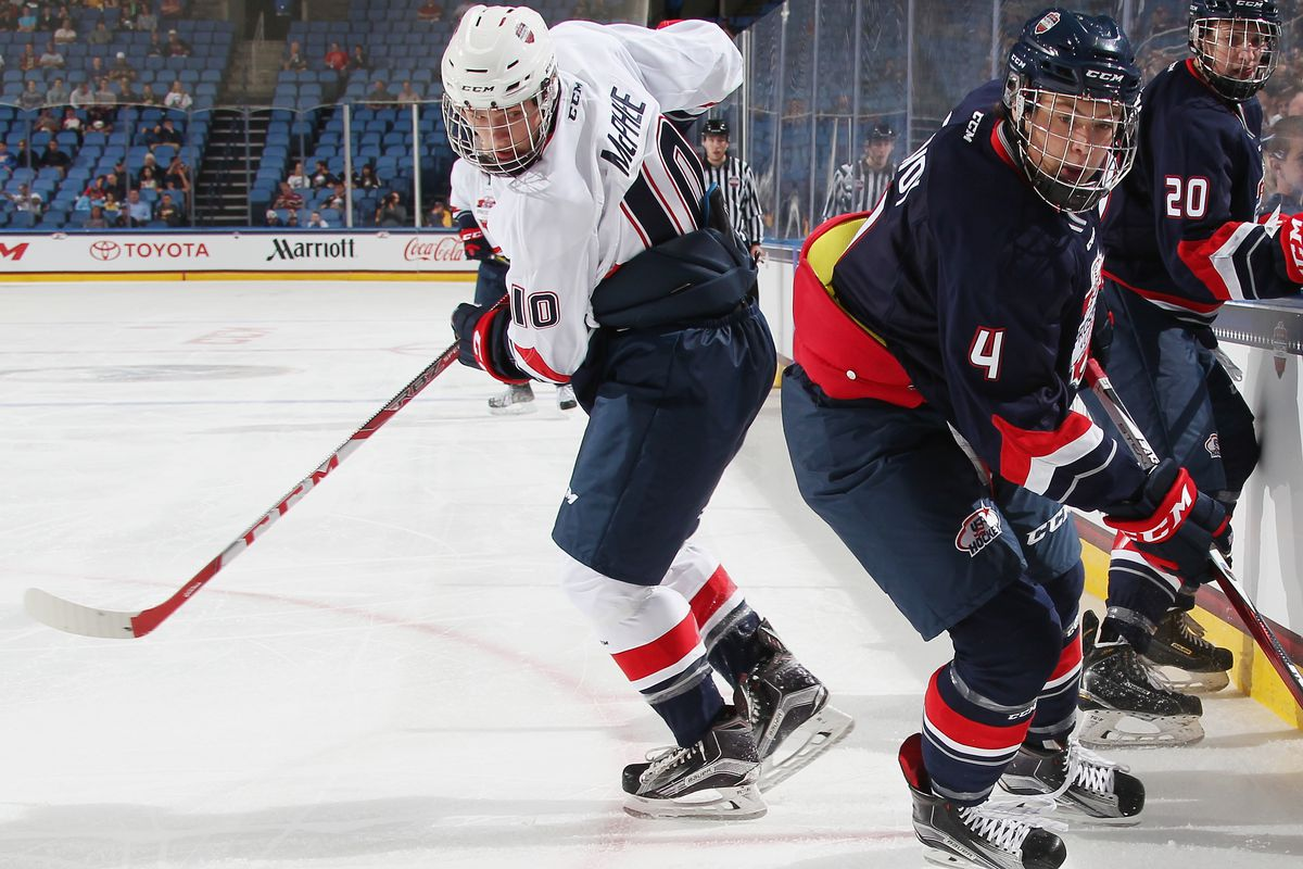Charlie McAvoy (4) had the assist on the game-winning goal in the CCM/USA Hockey All-American Prospects Game