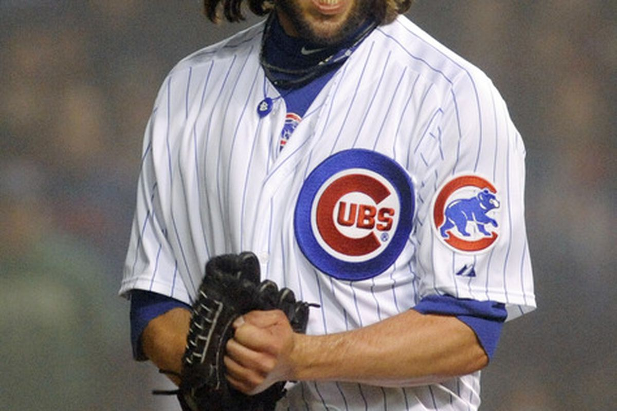 James Russell of the Chicago Cubs reacts after getting the last out against the Atlanta Braves at Wrigley Field in Chicago, Illinois. The Chicago Cubs defeated the Atlanta Braves 5-1.  (Photo by David Banks/Getty Images)